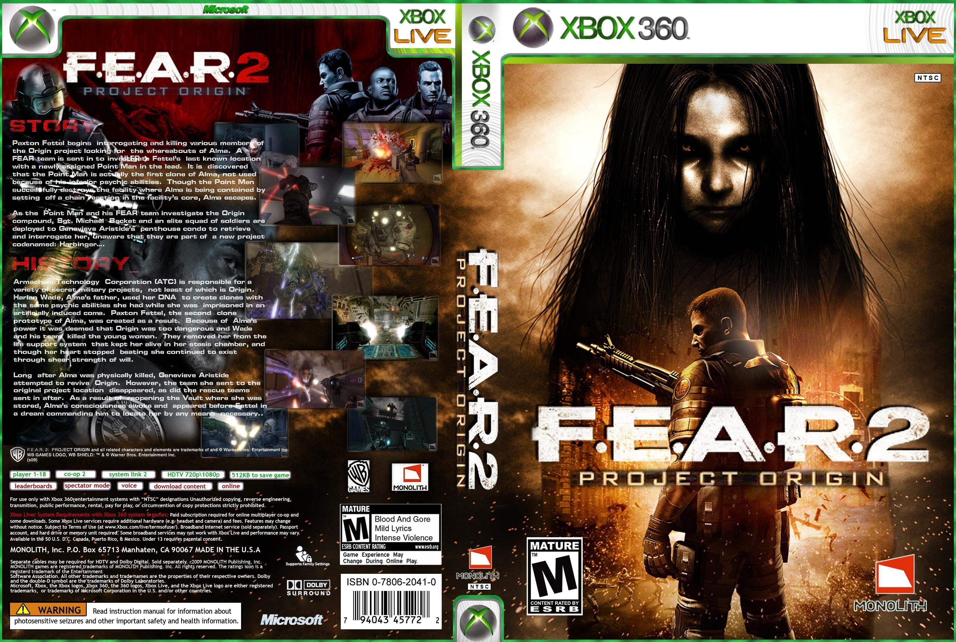 F. E. A. R. 2: project origin (2009) xbox 360 box cover art mobygames.